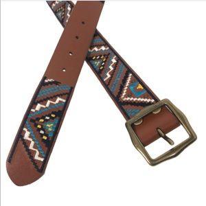 Lucky Brand Medium Leather Tribal Brown Belt